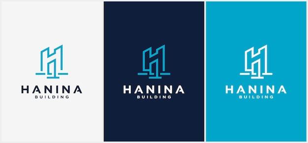 Gebouw logo letter h lijn. kan worden gebruikt voor bedrijfslogo's, architectuur, onroerend goed, bouw, gebouwen, appartementen vectorlogo-ontwerpsjablonen Premium Vector