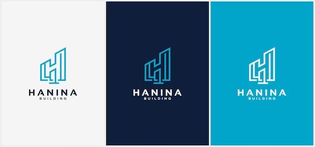 Gebouw logo letter h lijn. kan worden gebruikt voor bedrijfslogo's, architectuur, onroerend goed, bouw, gebouwen, appartementen vectorlogo-ontwerpsjablonen