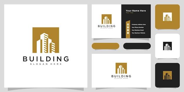 Gebouw logo met lijn kunststijl. stadsbouwsamenvatting voor inspiratie voor logo-ontwerp en visitekaartjeontwerp