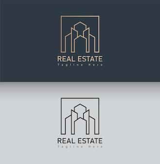 Gebouw logo met lijn kunststijl. stadsbouwsamenvatting voor logo-ontwerp