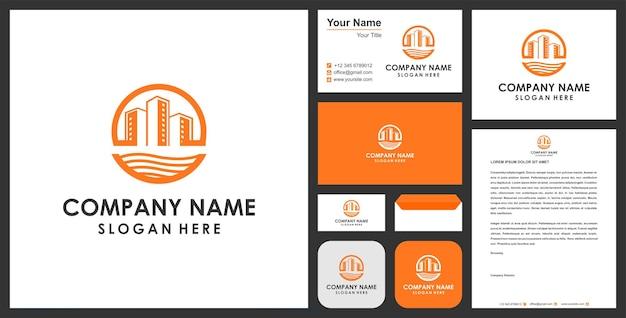 Gebouw logo premium en visitekaartje