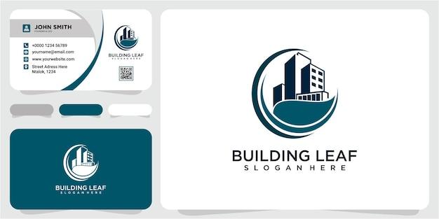 Gebouw met blad logo ontwerp template.green concept huispictogram. logo ontwerp bouwen