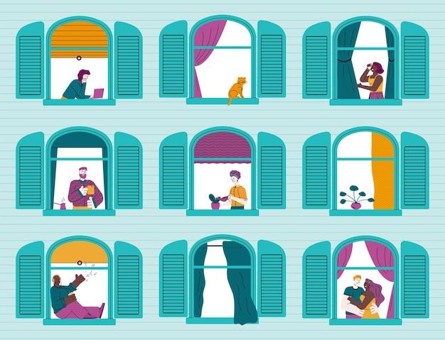 Gebouw met cartoon mensen in windows schets geïsoleerd
