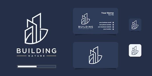 Gebouw met natuur logo ontwerpsjabloon.