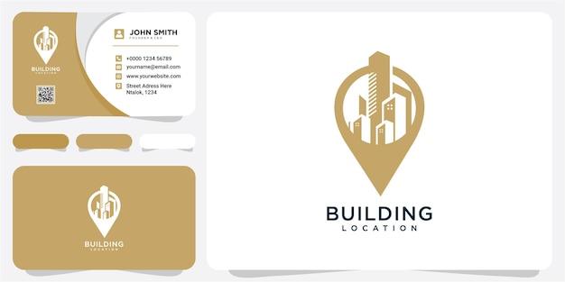 Gebouw met punt locatie symbool logo ontwerpsjabloon. gebouw locatie logo ontwerp inspiratie