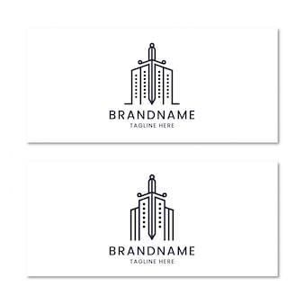 Gebouw met zwaard logo ontwerpsjabloon