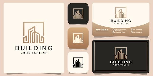 Gebouw of stad logo-ontwerp met lijnstijl