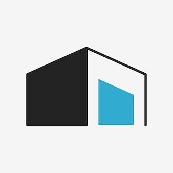 Gebouw pictogram, architectuur symbool plat ontwerp vectorillustratie