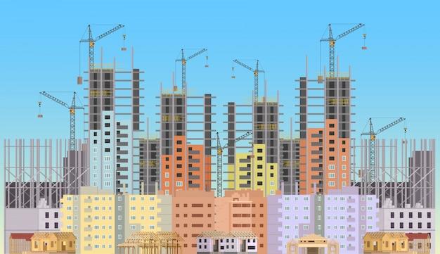 Gebouw stad in aanbouw