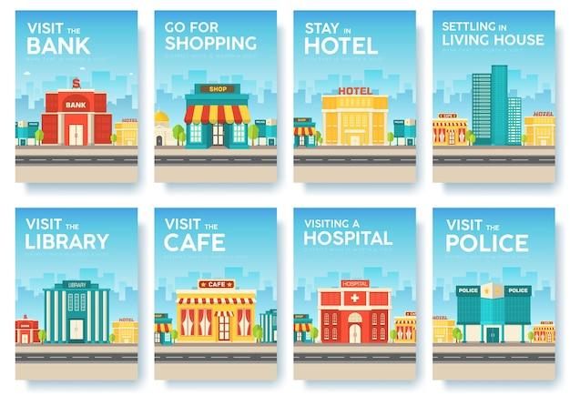 Gebouw stad informatiekaarten set