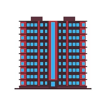 Gebouw stad kantoor pictogram architectuur kantoor. stedelijke bouwstad buiten onroerend goed. skyline stadsgezicht structuur