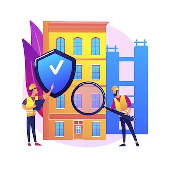 Gebouw veiligheid abstract concept illustratie. bouwplaats, bouwuitrusting, persoonlijke veiligheid, aannemerszaken, gezondheid van werknemers, beschermingshelm, techniek