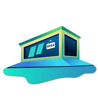 Gebouw winkel illustratie plat ontwerp modern