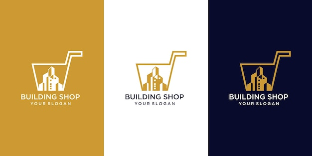 Gebouw winkel logo ontwerp