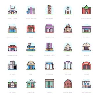 Gebouwarchitectuur plat pictogrammen