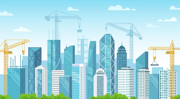 Gebouwde stad. stad in aanbouw, het bouwen van funderingen en bouwkranen bouwen gebouwen cartoon vectorillustratie. stedelijke ontwikkeling. panoramisch uitzicht op straat met moderne wolkenkrabbers.