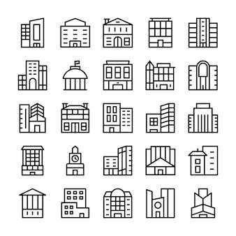 Gebouwen, bezienswaardigheden lijn pictogrammen