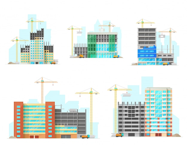Gebouwen bouwplaats plat pictogrammen