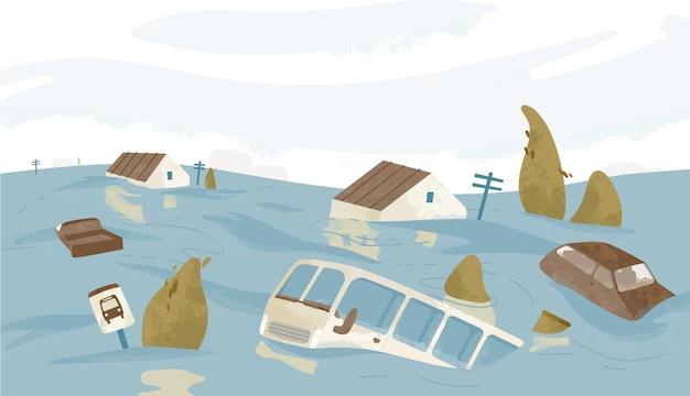 Gebouwen en auto's bedekt met water