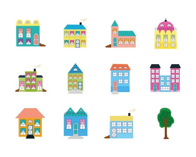 Gebouwen en boom-iconen