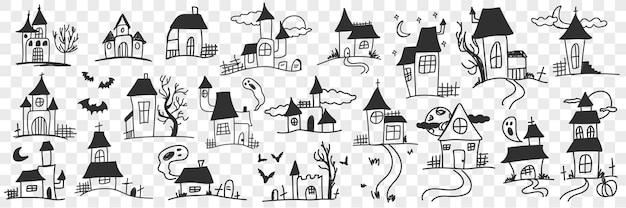 Gebouwen en huizen met spoken doodle set illustratie