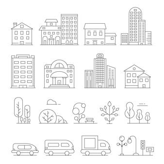 Gebouwen en stedelijke objecten. lineaire afbeeldingen van auto's, huizen en stedelijke bomen