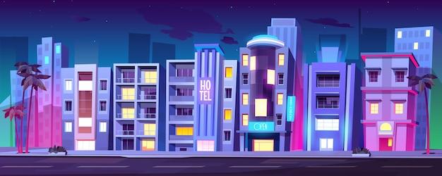 Gebouwen, hotels in miami in de zomer 's nachts,