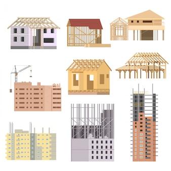 Gebouwen in aanbouw