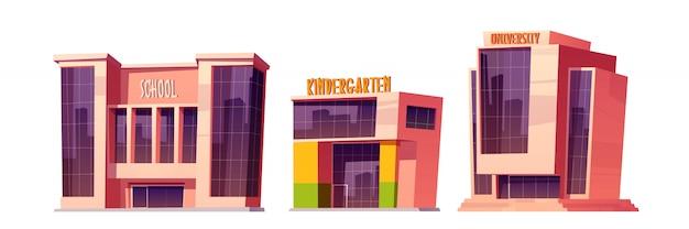 Gebouwen van school, kleuterschool en universiteit
