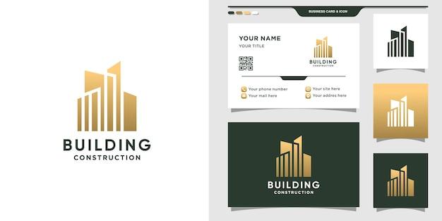 Gebouwlogo voor constructie met creatief concept en visitekaartjeontwerp
