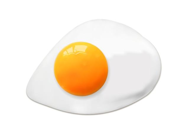 Gebraden ei dat op wit wordt geïsoleerd.