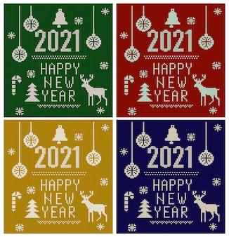 Gebreid lettertype, elementen en randen voor kerstmis, nieuwjaar of winter