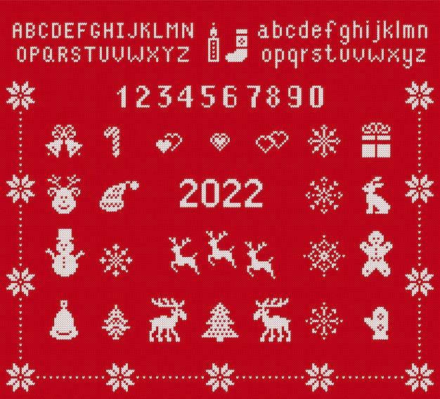 Gebreid lettertype en kerstelementen. vector illustratie. kerst naadloze afdrukken. gebreide trui textuur.