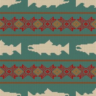 Gebreid naadloos patroon met noorse zalm