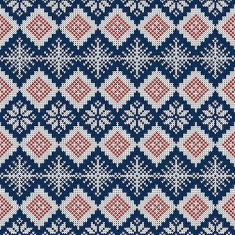 Gebreid naadloos patroon met sneeuwvlokken en traditioneel