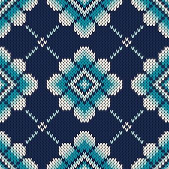 Gebreid patroon met bloemen. naadloos sweater design