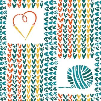 Gebreid patroon met naalden en garen