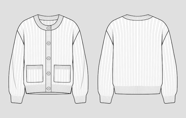 Gebreid vest. trui met ronde hals en knoopsluiting. vector technische schets. mockup-sjabloon.