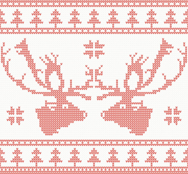 Gebreide herten naadloze patroon in rode kleur. vectorillustratie. kerstconcept voor banner, plakkaat, billboard of website. nieuwjaarskaart en achtergrond.