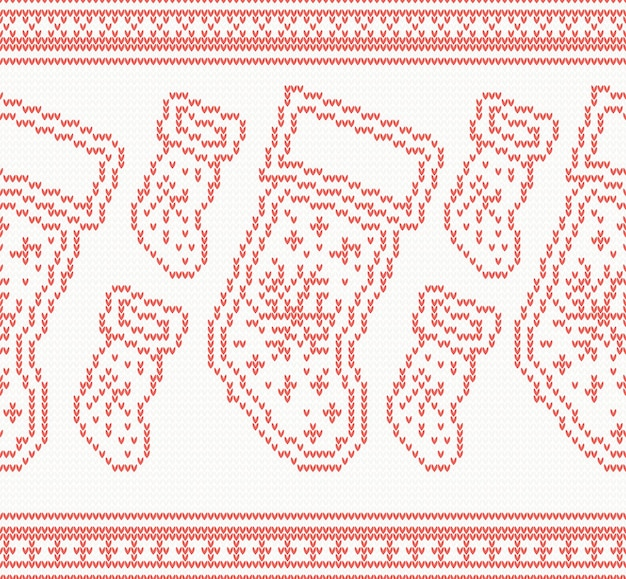 Gebreide kerst sokken naadloze patroon in rode kleur. vectorillustratie.