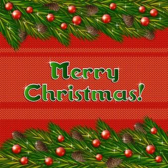 Gebreide kerstmisachtergrond met sparrenkegels