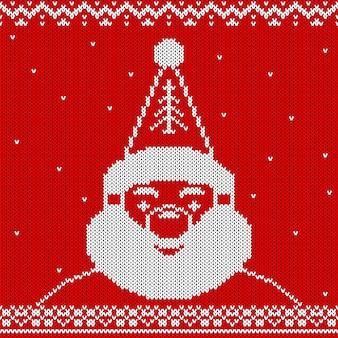 Gebreide kersttextuur, de kerstman
