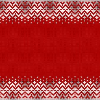 Gebreide naadloze achtergrond met copyspace en abstract sweaterpatroon voor kerstmisontwerp