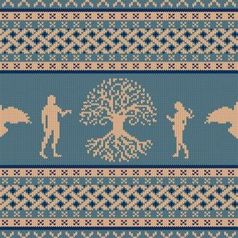 Gebreide naadloze ornament world tree