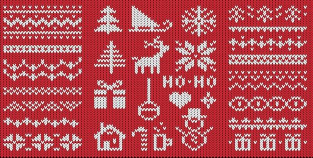 Gebreide nieuwjaarssymbolen en patronen platte s set. ornament op karmozijnrood breigoed