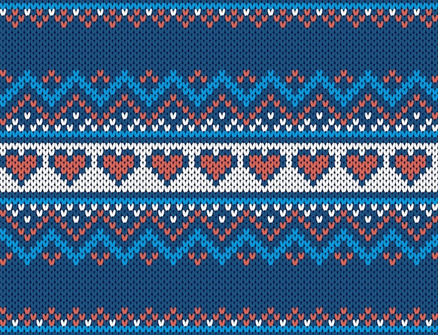 Gebreide print. kerst naadloze patroon. blauwe trui textuur. xmas fair isle traditioneel ornament.