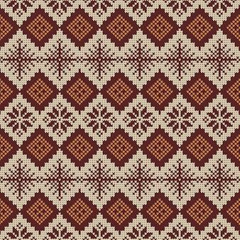 Gebreide scandinavische patroon met sneeuwvlokken.