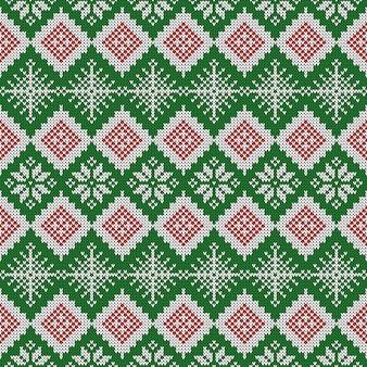 Gebreide scandinavische patroon met sneeuwvlokken