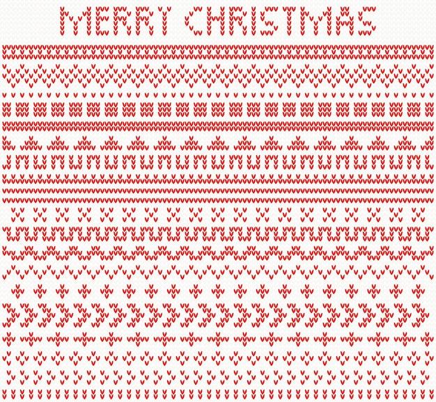 Gebreide scheidingslijnen en randen voor kerstmis en nieuwjaar
