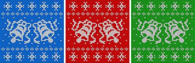 Gebreide textuurtrui met twee bellen naadloze patroonset kersttrui achtergrond vector